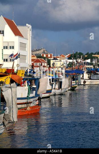 Curacao Willemstad Punda side Floating Market - Stock Image