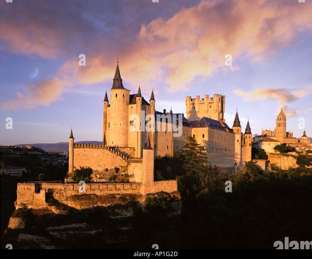 E CASTILE Alcazar Castle at Segovia - Stock Image