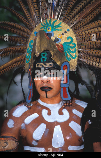 Cancun Mexico Maya Indian dancer Xcaret theme park - Stock Image