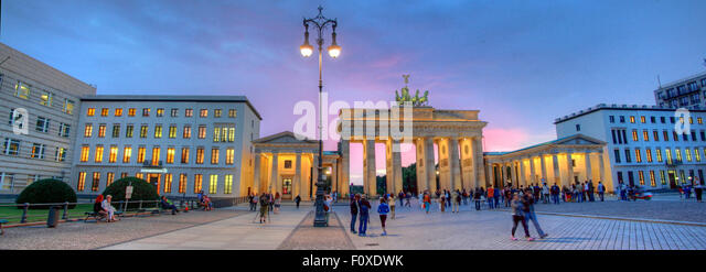 Brandenburg Gate Panorama, in the early evening twilight, Tiergarten,Mitte district, Berlin, Germany, Europe - Stock Image