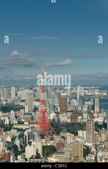 Tokyo skyline and Tokyo Tower Japan - Stock Image
