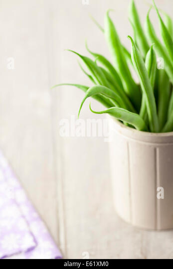 French Beans in Stoneware Pot - Stock Image