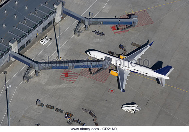 Aerial view of plane at airport - Stock Image