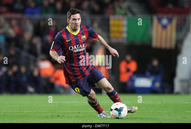 Barcelona, Spain. 02nd Mar, 2014. Messi in action during the Spanish La Liga game between Barcelona and Almeria - Stock-Bilder