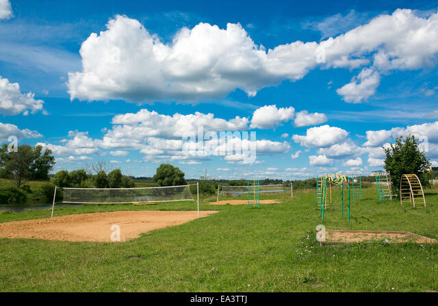 Volleyball playground, Moscow region, Russia - Stock Image