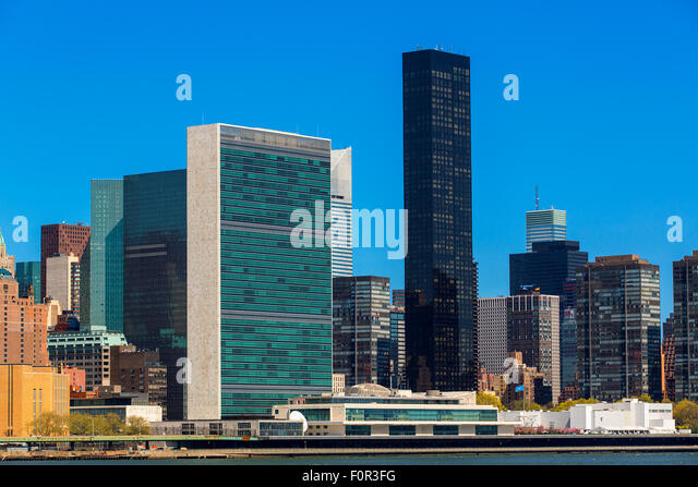 New York City with United Nations Building - Stock Image