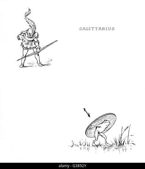 illustrated as an archer  firing an arrow at a target  held by a frog (!)       Date: 1887 - Stock Image