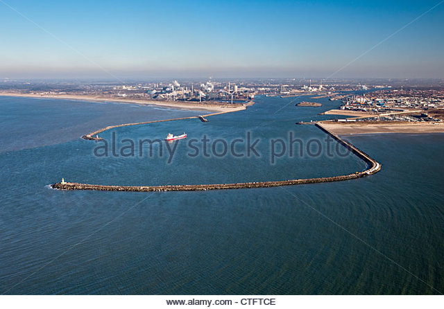 The Netherlands, IJmuiden, Aerial, Entrance of North Sea Canal. Tata steel factory. - Stock Image