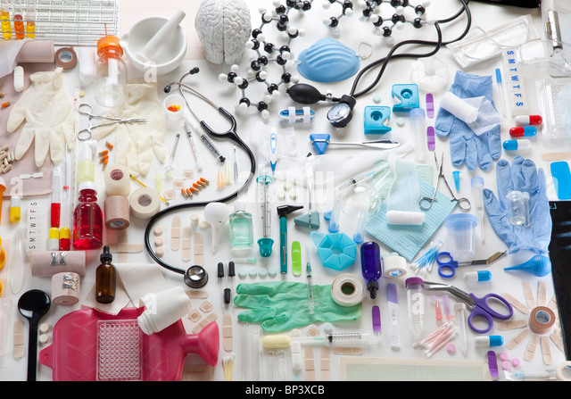 Group of many objects relating to medicine and health care - Stock Image