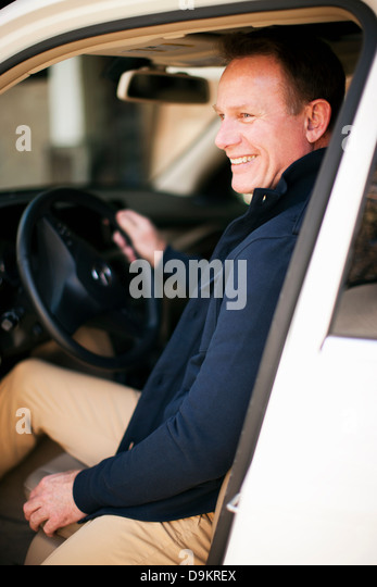 Man pleased to get to destination - Stock-Bilder