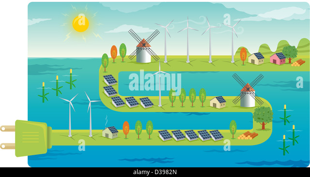 Wind farms on electrical plug depicting the concept of conversation of natural resources - Stock Image