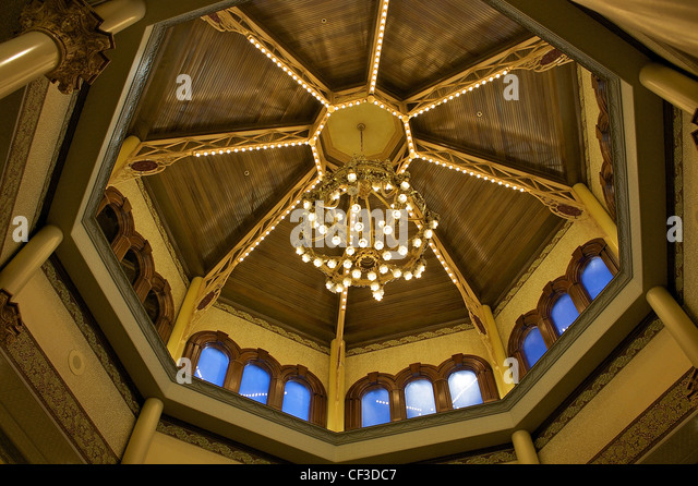 A chandelier from Le Figaro Opera House in Paris, now at Main Street Station casino in downtown Las Vegas - Stock Image