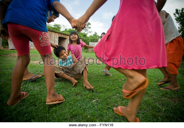 Surui children playing at Lepetanha in the '7th September Indian Reserve', Rondonia, Brazil. - Stock Image