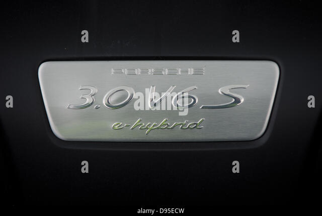 The logo of a Porsche Panamera e-Hybrid is pictured at a motor journalism colloquy by autosupplier Bosch in Boxberg, - Stock Image