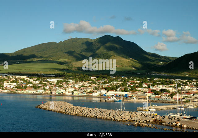 St Kitts West Indies Caribbean Basseterre waterfront shoreline overview as seen from cruise ship pier - Stock Image