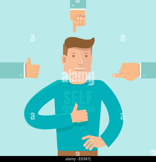 Self promotion concept in flat style - man showing like sign and business hands pointing at him - Stock-Bilder