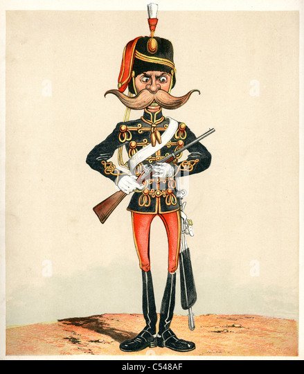 Caricature of a British Hussar - Stock Image