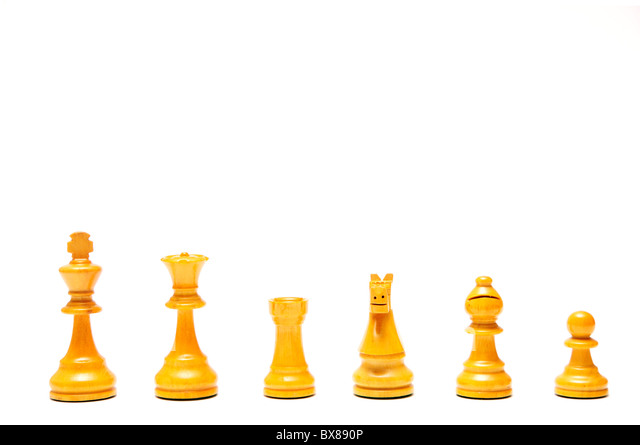 chess pieces isolated, white set - Stock Image
