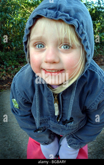 Photograph of child winter walk cold hands fresh crisp exercise - Stock-Bilder