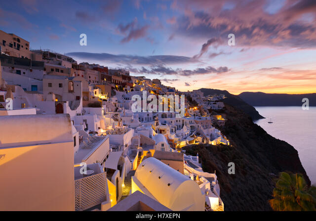 View of Oia village on Santorini island in Greece. - Stock Image