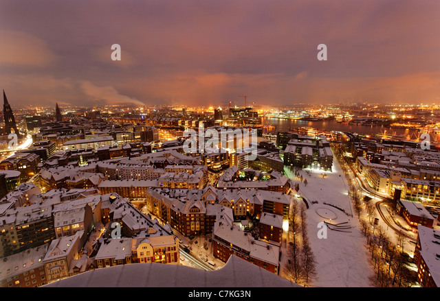 City center, snow, city, panorama, Hamburg, Germany, Europe - Stock Image