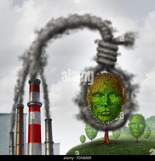 Environmental suicide concept as industrial dirty pollution shaped as a rope noose choking a tree shaped as a human - Stock Image