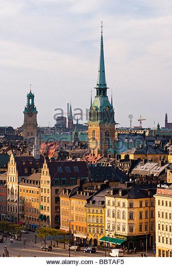 Kornhamnstorg, Gamla Stan, Stockholm, with the spire of Tyska Kyrkan behind. - Stock Image