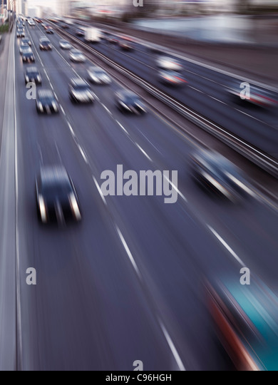 Dynamic photo of highway traffic in motion. Toronto Gardiner Expressway. Ontario, Canada. - Stock Image
