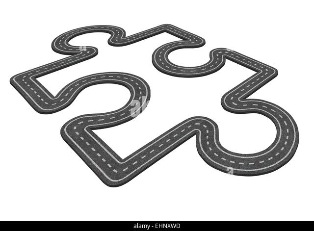 Puzzle road concept as a transportation symbol and business icon for economic development as an asphalt highway - Stock Image