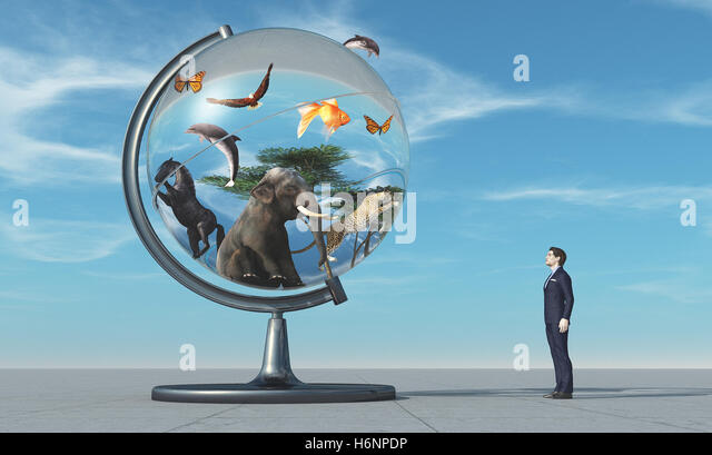 Man concerned by a globe with animals on blue background. This is a 3d render illustration - Stock Image