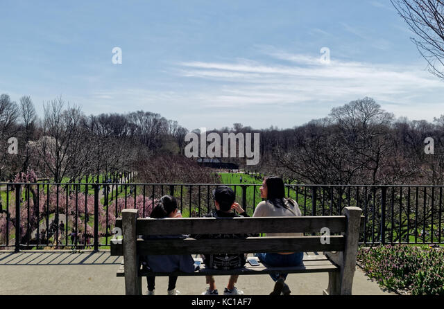Family sitting on a viewing bench at the Brooklyn Botanic Gardens in Springtime. - Stock Image