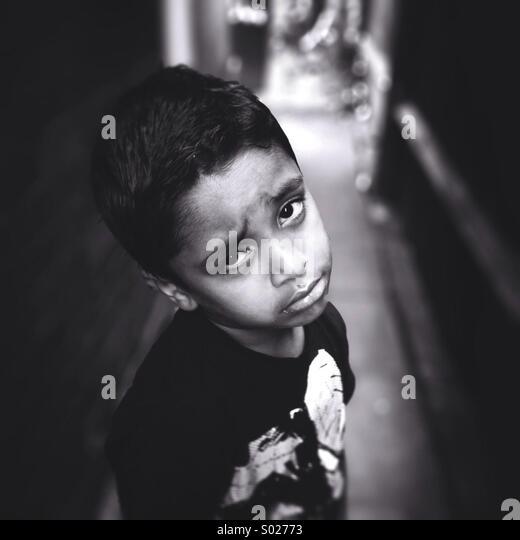 Sad boy - Stock Image