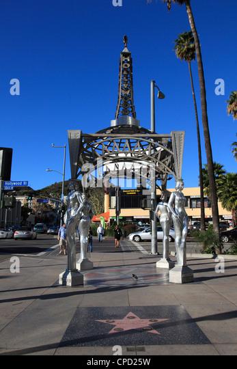 Silver Four Ladies of Hollywood Gazebo, Hollywood Walk of Fame, Hollywood Boulevard, Hollywood, Los Angeles, California, - Stock Image
