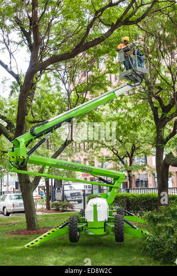 Chicago Illinois Gold Coast Historic District neighborhood park tree landscaping cherry picker Niftylift trailer - Stock Image