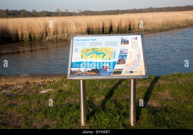 Information board for the Sailors' path by the River Alde at Snape, Suffolk, England - Stock Image