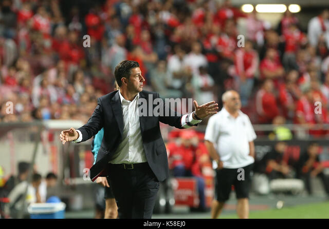 Benfica«s head coach Rui Vitoria from Portugal during the Premier League 2017/18 match between SL Benfica v - Stock Image
