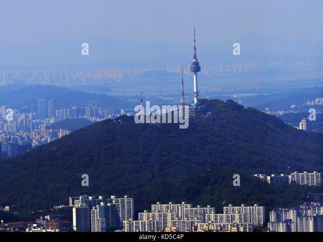 The N Seoul Tower in Seoul. - Stock Image