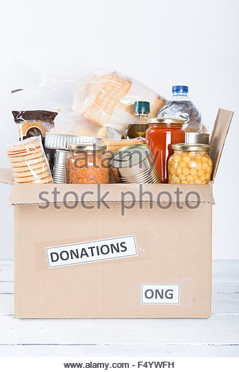Box of food to donate - Stock Image