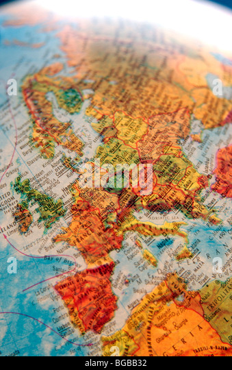 Photograph of map europe globe EU UK British countries travel - Stock-Bilder