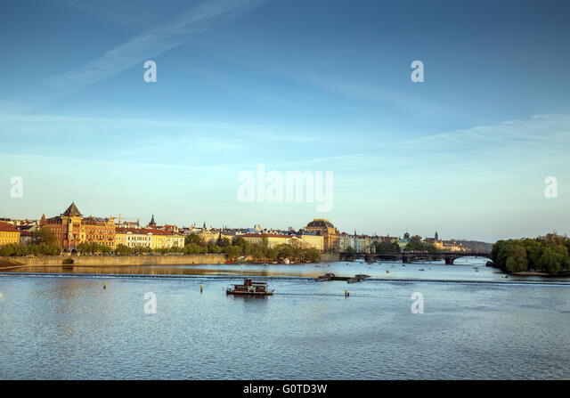 Smetanovo nabrezi, National theater and the Vltava river at sunset, Bohemia, Czech Republic, Europe - Stock Image