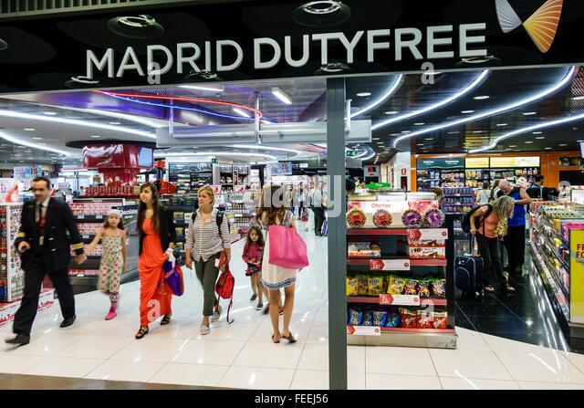 Spain Europe Eurozone Spanish Hispanic MAD Adolfo Suárez Madrid-Barajas Airport international duty free shopping - Stock Image