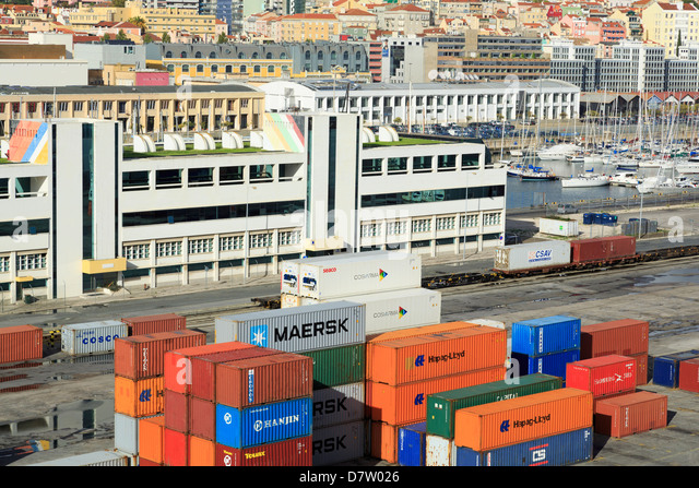Containers on Santo Amaro Dock, Lisbon, Portugal - Stock Image