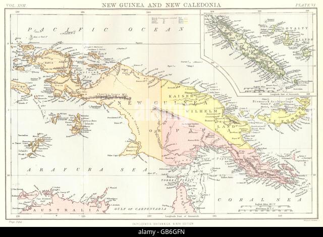 PAPAU NEW GUINEA & NEW CALEDONIA:Irian Jaya.Loyalty Islands. Britannica 1898 map - Stock Image