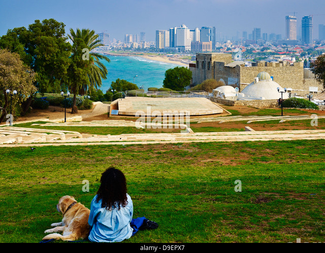 View from Ramses garden in Jaffa to Tel Aviv, Israel - Stock Image