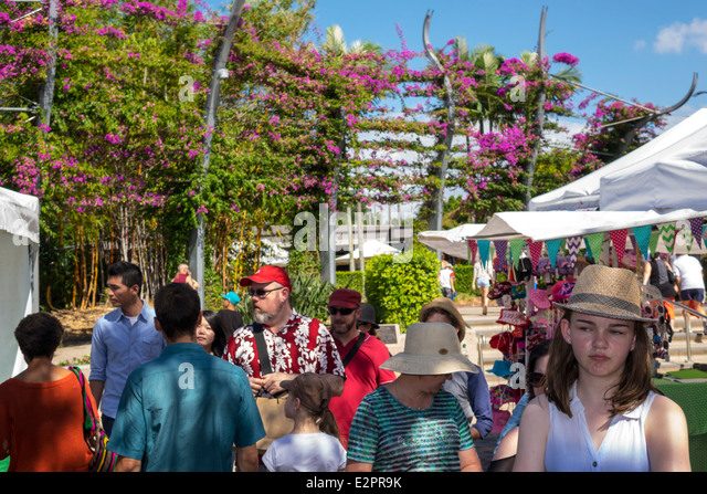 Brisbane Australia Queensland Southbank Parklands Stanley Street Plaza Saturday Market shopping vendors stalls sale - Stock Image