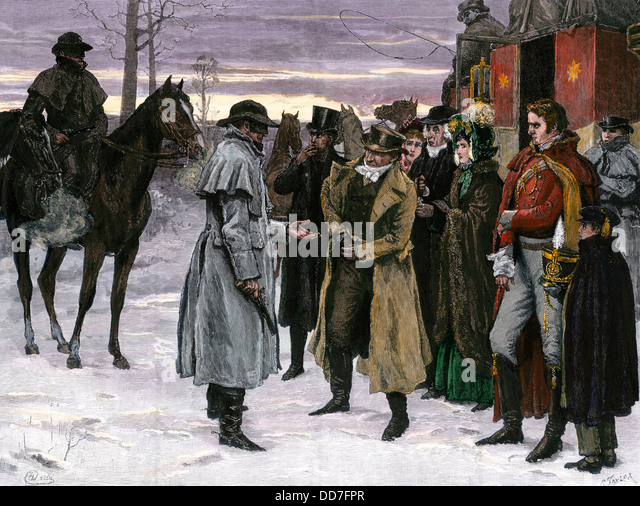Highwaymen robbing stagecoach passengers on the King's Highway, England, 1700s. - Stock Image