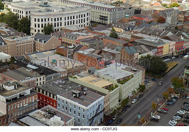 Louisiana New Orleans French Quarter National Historic Landmark skyline North Peter Street aerial roof street buildings - Stock Image