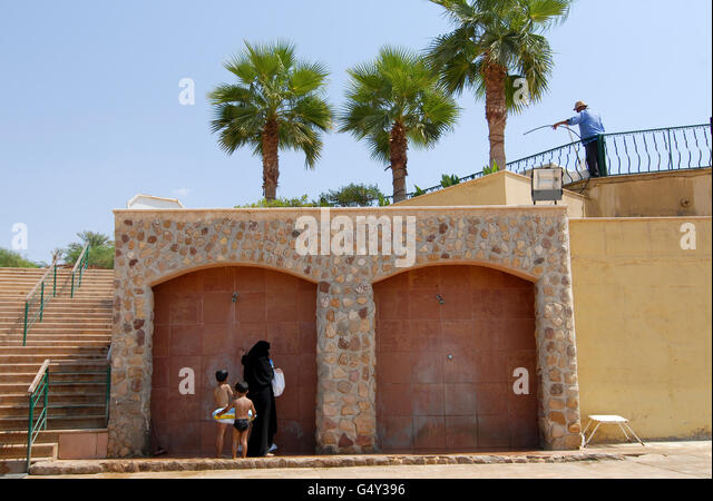 JORDAN , Dead Sea Spa Hotel at dead sea , the water level of Dead sea is declining due to high water usage of Jordan - Stock-Bilder