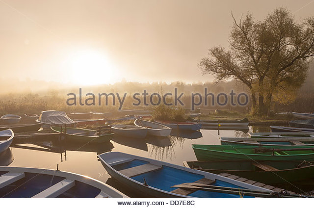 Germany, Bavaria, View of fog on boat at dawn - Stock Image