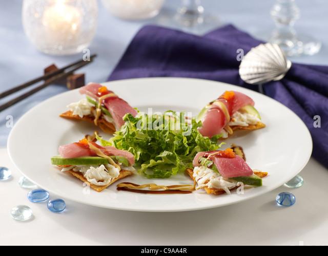 Spicy tuna nacho - Stock Image